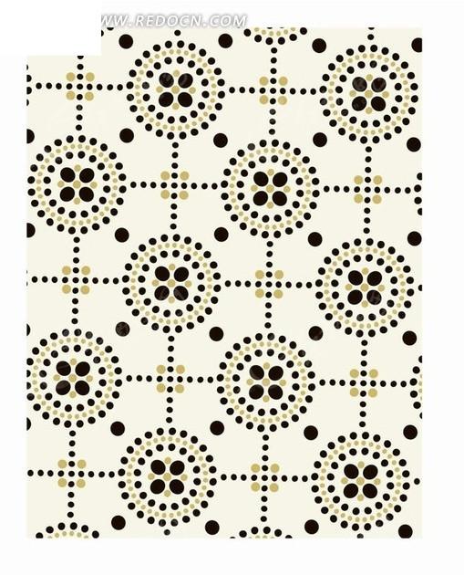 圆点格子和圆形构成的图案图片