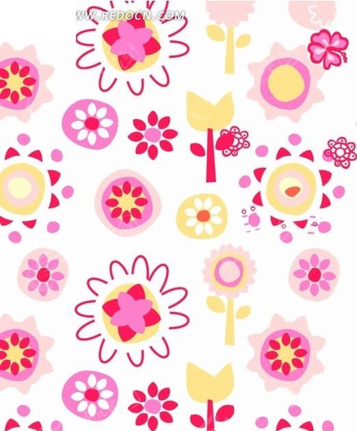 白色背景彩色花朵叶子图案