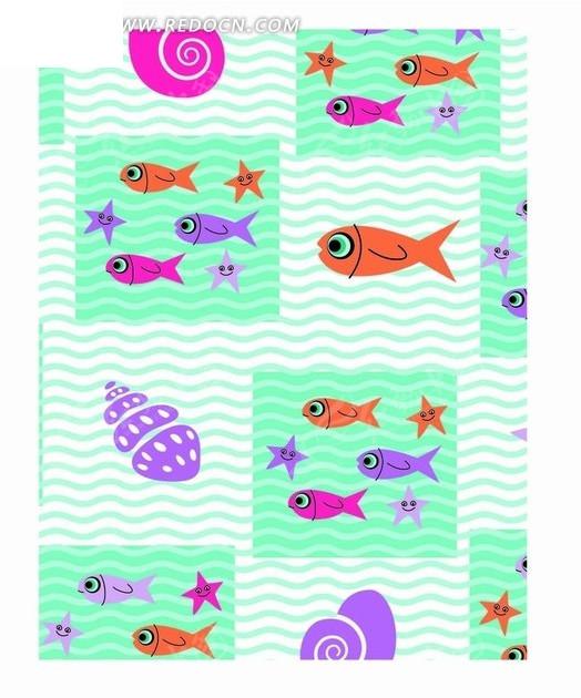蓝色水波和格子以及鱼构成的图案