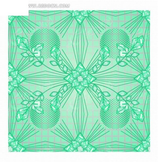 手绘绿色枝条和花朵背景素材矢量图_底纹背景