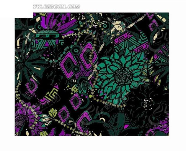 黑色背景前的手绘绿色花朵和叶子以及菱形矢量图_底纹