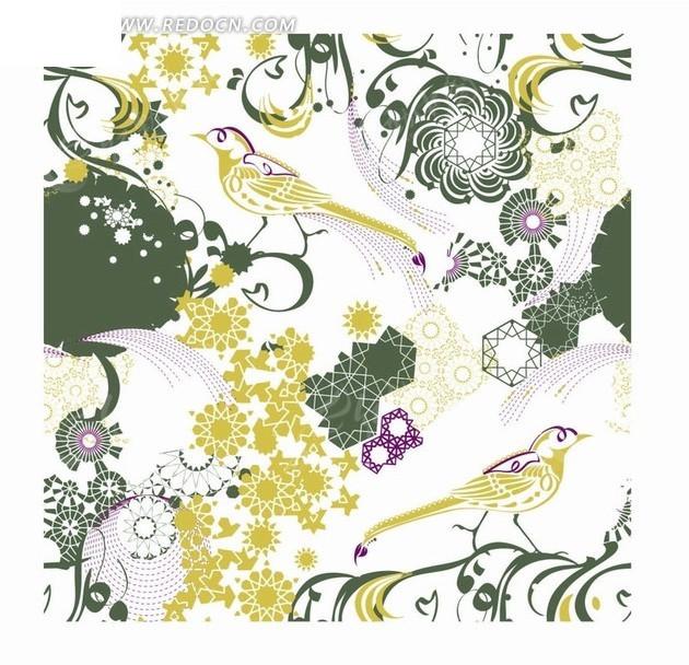 手绘小鸟和花朵以及枝条背景素材矢量图ai免费下载