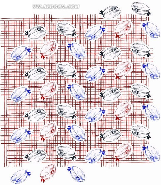 红色网格前的手绘帽子构成的图案AI素材免费下载 编号1976885 红动网