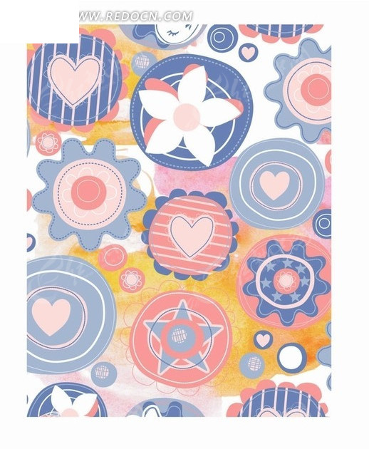 手绘花朵同心圆五角星心形背景素材