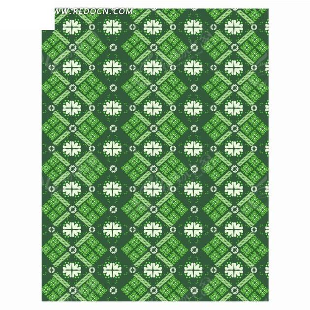 绿色白色菱形花纹背景素材