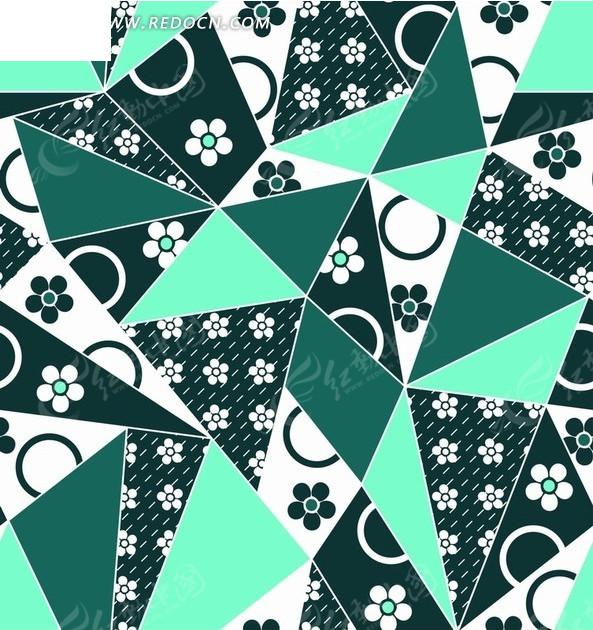 三角形和卡通花朵以及虚线和圆圈背景素材