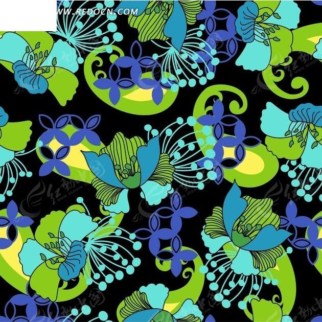 黑底手绘花朵和花纹底纹