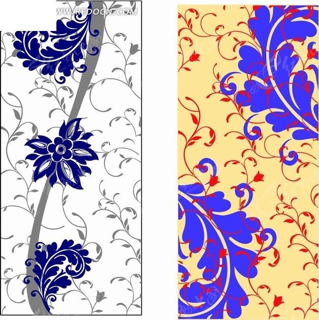 弯曲枝条和叶子底纹矢量图ai免费下载_底纹背景素材