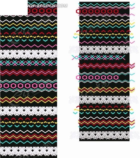 波浪线菱形编织图案