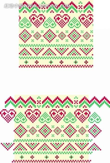 心形菱形三角形编织图案