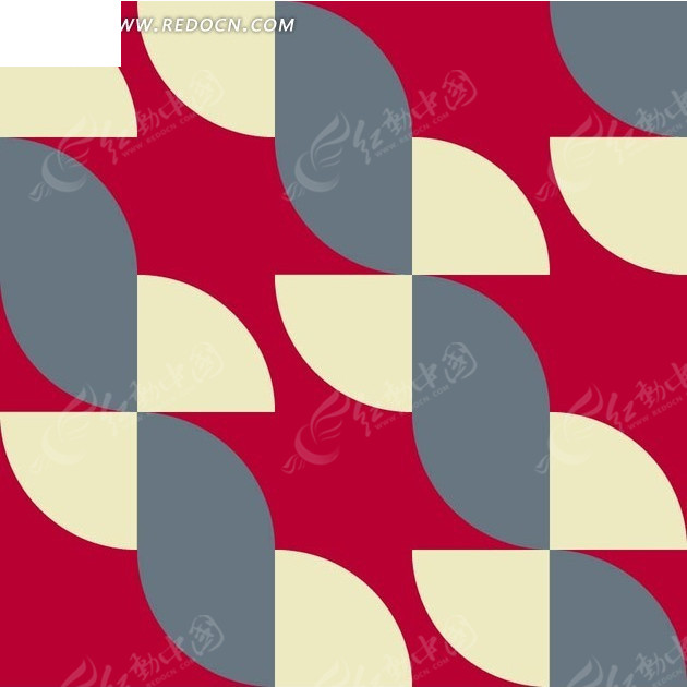 矢量素材 花纹边框 底纹背景 枚红色底的灰色黄色扇形背景素材