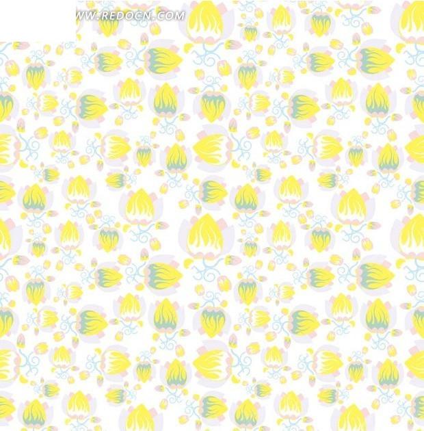 绘黄色花苞的 白底背景 素材 底纹 背景 矢量图 手绘黄色花苞的 白底图片