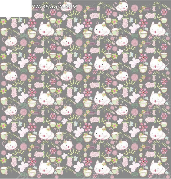 免费素材 矢量素材 花纹边框 底纹背景 手绘猫咪盆栽花朵蝴蝶背景素材