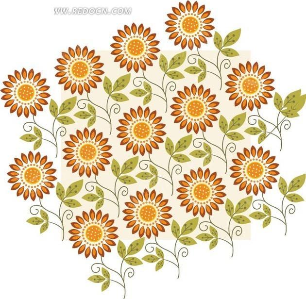 矢量素材 花纹边框 底纹背景 > 植物背景素材—手绘绿色枝条和向日葵