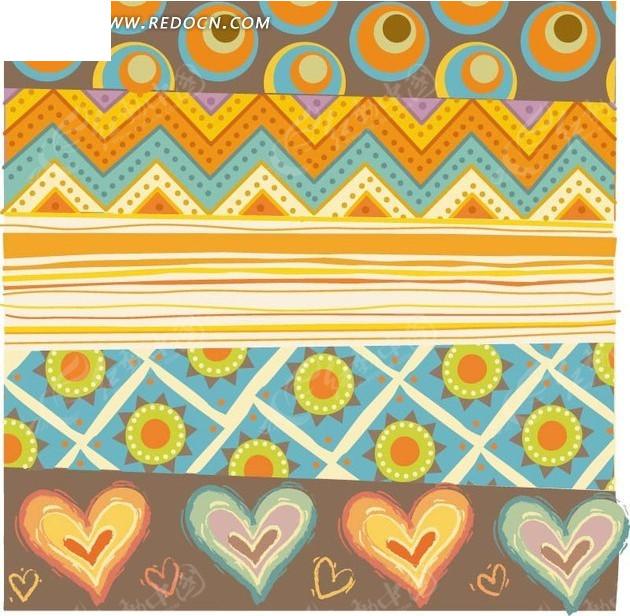 底纹 植物背景素材 手绘折线 横条纹 心形 花朵 菱形格子  背景素材