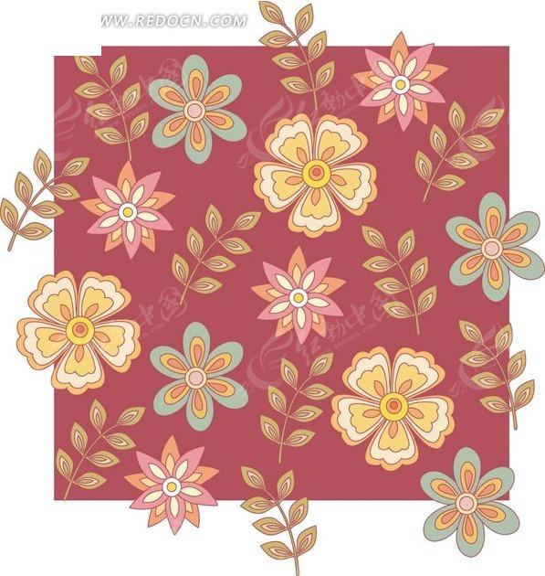 植物背景素材—手绘棕色枝条和漂亮花朵