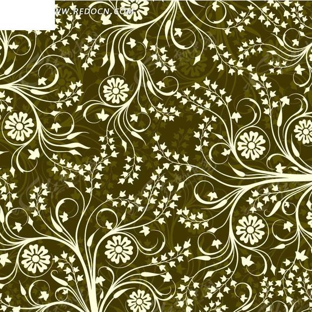 花朵盛开的弯曲枝条绿底背景素材矢量图_底纹背景