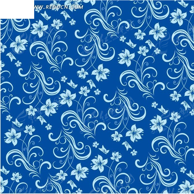 淡蓝色花朵和枝条的蓝底背景素材eps免费下载_底纹背景图片