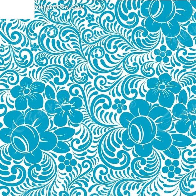 蓝色弯曲枝条和花朵的白底背景素材EPS免费下载 编号1980083 红动网图片