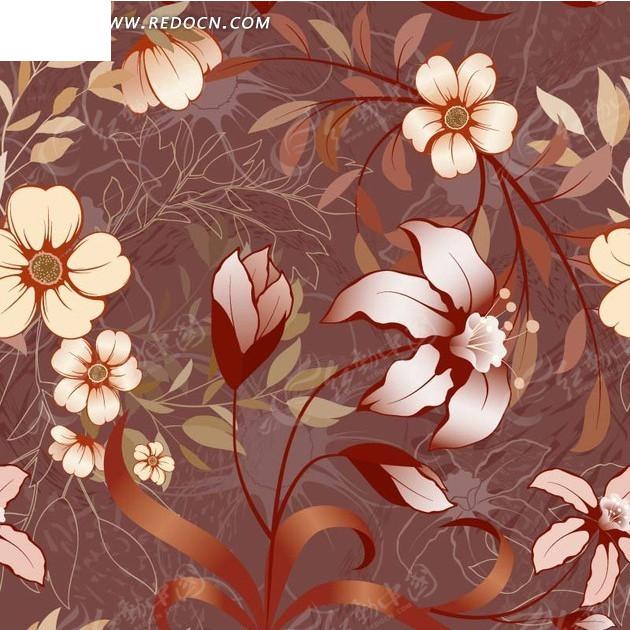 紫褐色底的手绘开花枝条和线描植物背景素材