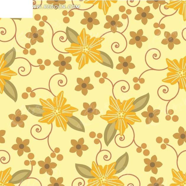 手绘叶子黄色棕色花朵和果子的黄底背景素材