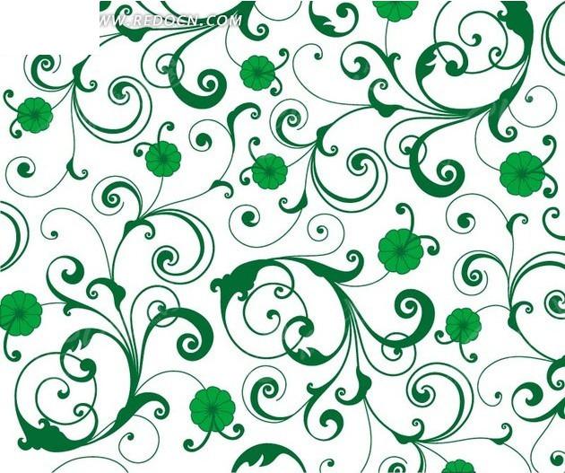 绿色插画枝条和绿色花朵白底背景素材矢量图图片