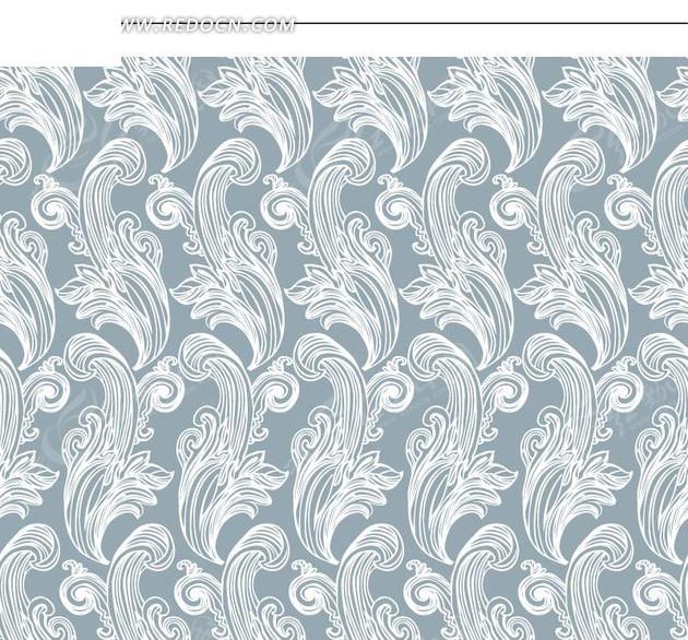 白色精美枝条 植物 蓝底 蓝色背景 背景素材 底纹 矢量素材图片