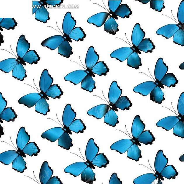 艺术插画蓝色翅膀蝴蝶底纹矢量图图片