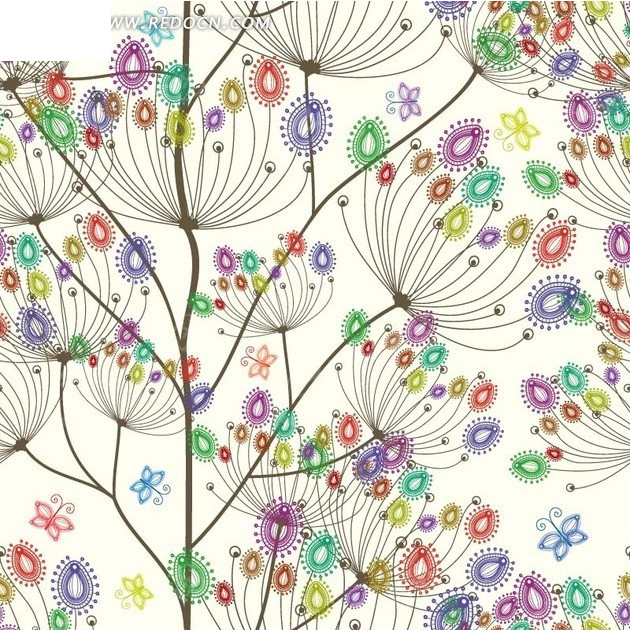 漂亮的手绘花朵白底背景素材矢量图图片