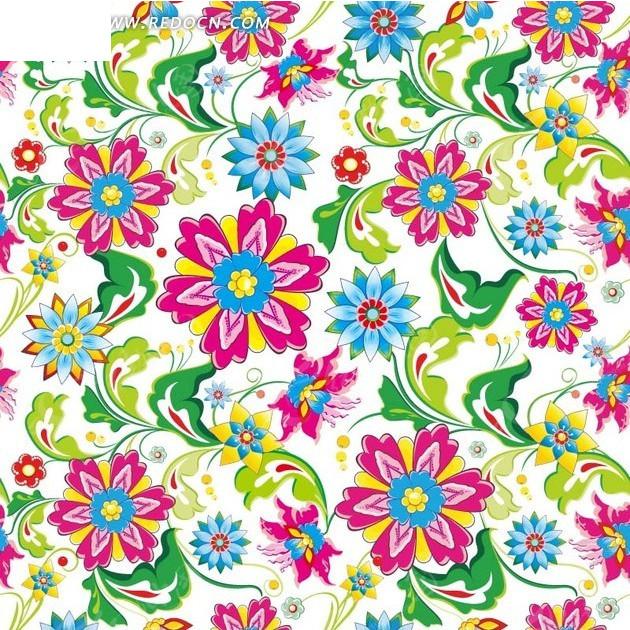 手绘彩色花朵和绿叶以及枝条白底背景素材