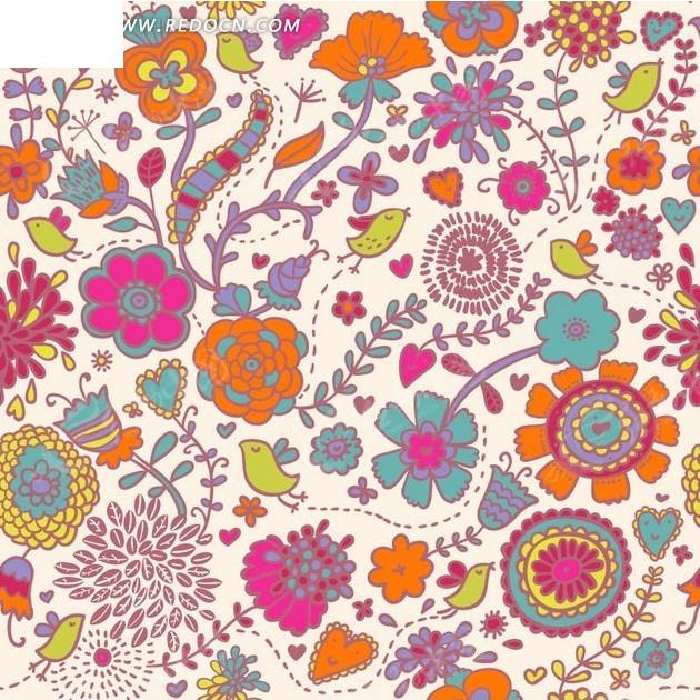 手绘彩色枝条和叶子花朵以及小鸟的粉底背景素材