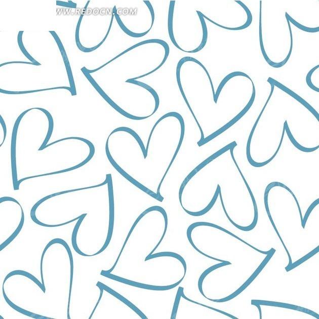 手绘蓝色心形白底背景素材EPS免费下载 编号1980517 红动网图片