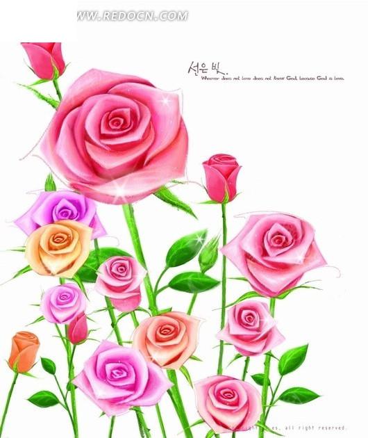 手绘玫瑰花图片_底纹背景