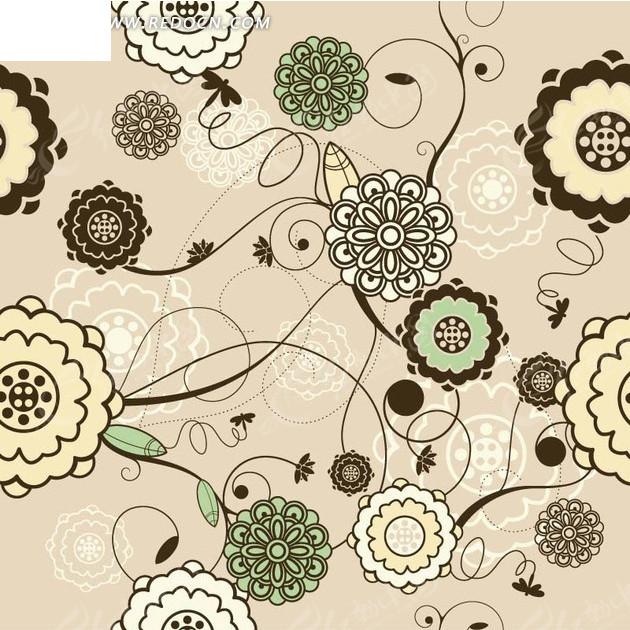 背景素材—粉色背景上的手绘黑色枝条和各色花朵以及叶子
