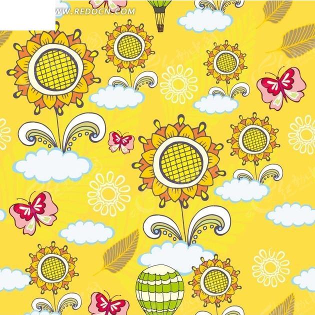 黄色背景太阳花云朵蝴蝶图案