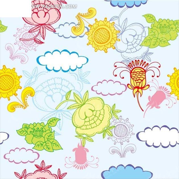 植物背景素材—手绘云朵和彩色花朵