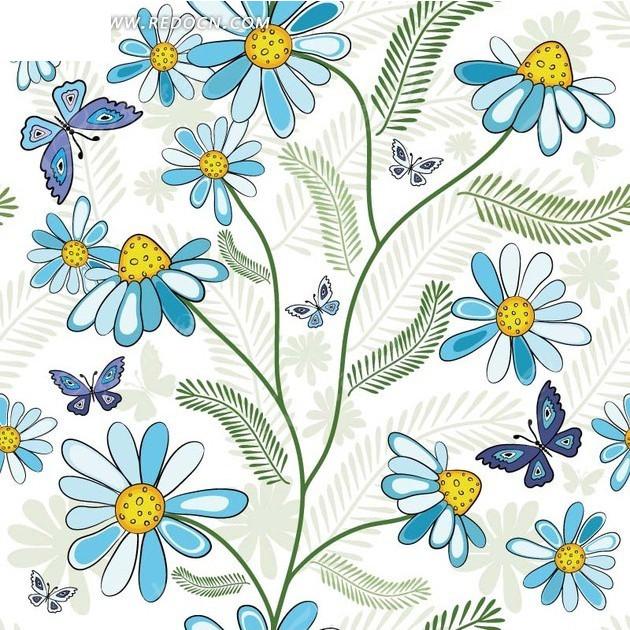 植物背景素材—白色背景上的手绘绿色枝条蝴蝶和蓝色花朵