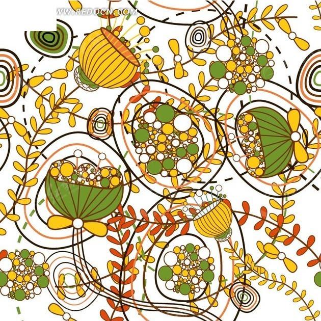 背景素材—手绘枝条和莲蓬