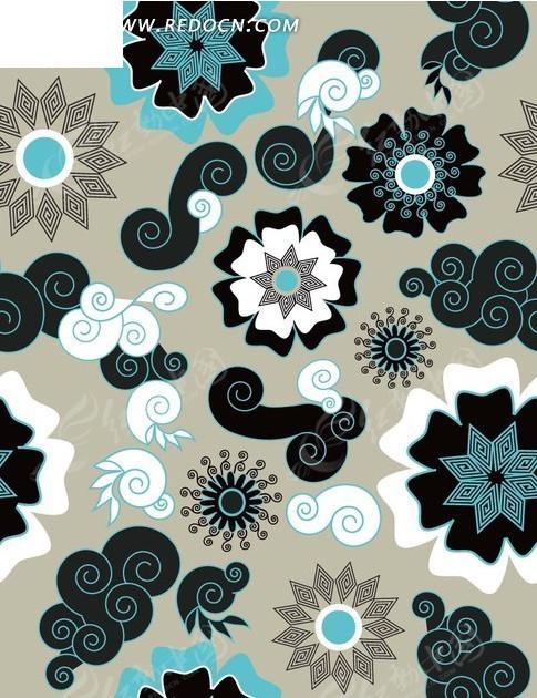 背景素材—灰色背景上的手绘圆形花朵和海螺以及云朵