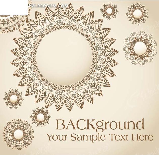 免费素材 矢量素材 花纹边框 底纹背景 叶子花边圆形底纹图案