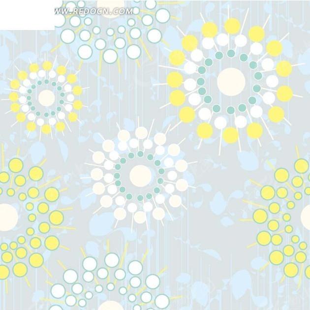 浅蓝色背景太阳花叶子图案矢量图