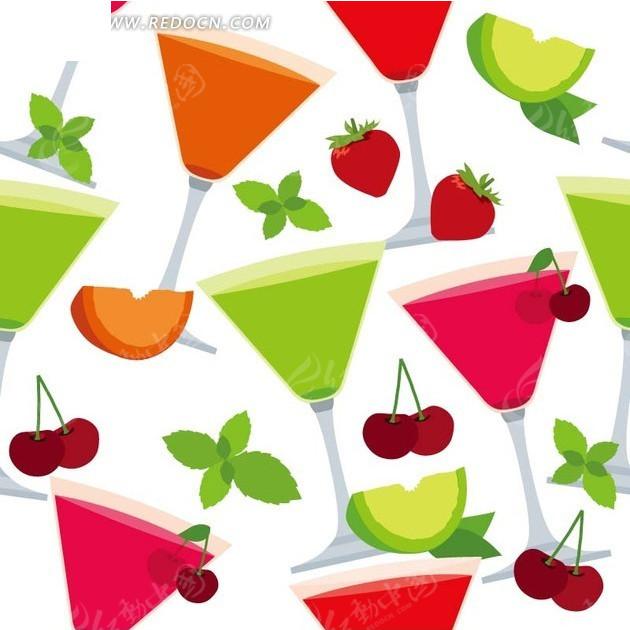 免费素材 矢量素材 花纹边框 底纹背景 白色背景樱桃饮料杯图案  请您