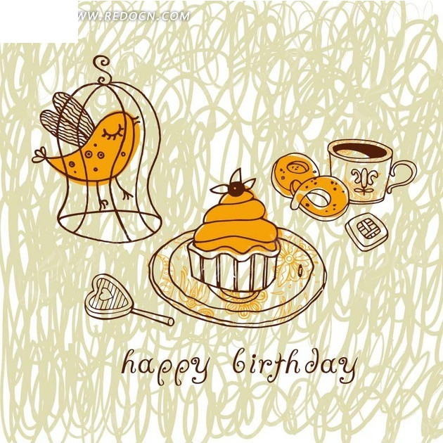 缭乱线条和手绘蛋糕和甜点杯子以及鸟笼里的鸟