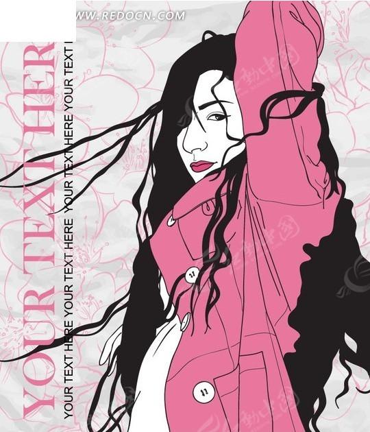 时尚女孩插画 粉色线条花朵 黑发美女 长发美女 人物  底纹 背景素材