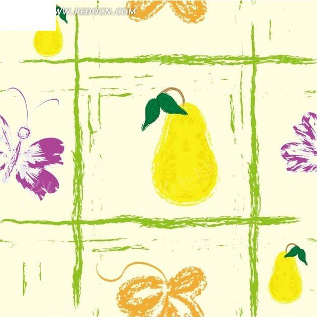 黄色背景上的手绘绿色线条和梨子以及花朵蝴蝶