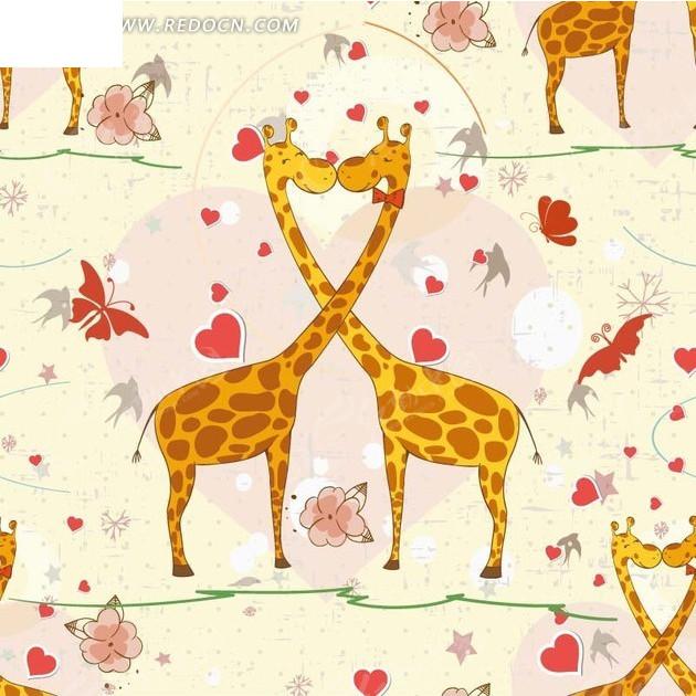黄色背景长颈鹿心形蝴蝶图案