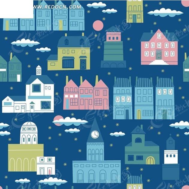 背景素材—手绘云朵月亮和房屋