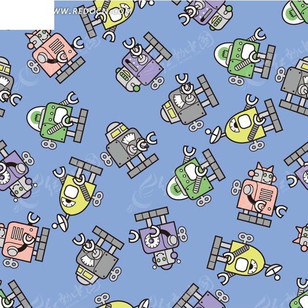 背景素材—蓝色背景上的手绘机器人