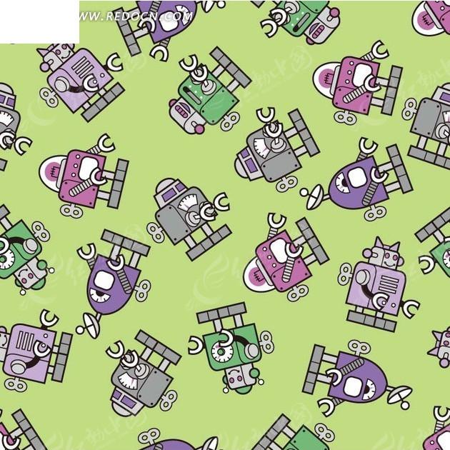 背景素材—绿色背景上的手绘机器人