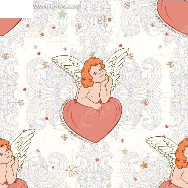 手绘精美对称花纹和心形上的天使